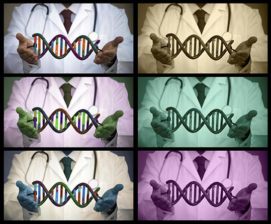 Forsker som holder DNA-helix
