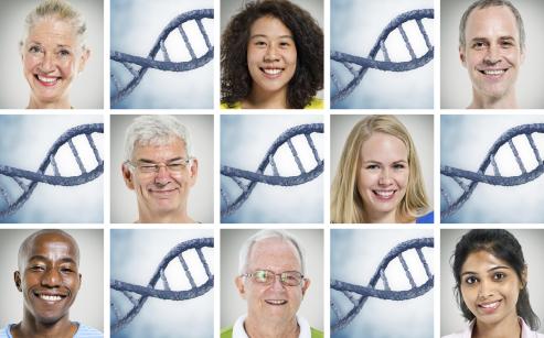 Collage av ansikter og DNA-helikser