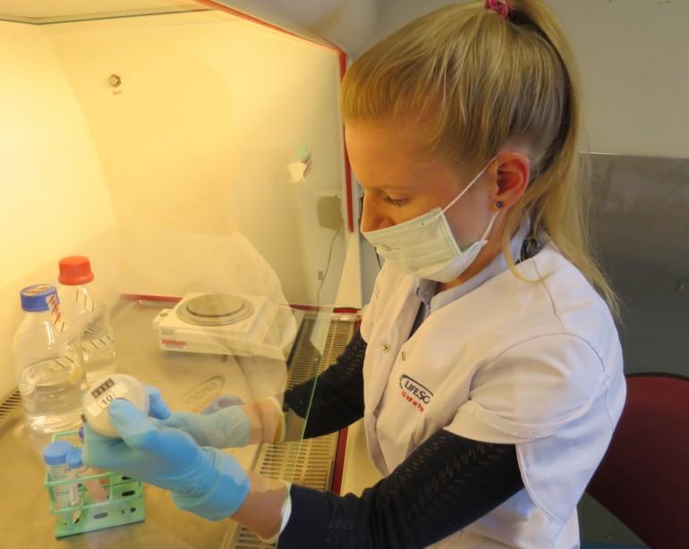 Forsker Dominika Andrys undersøker lakseegg
