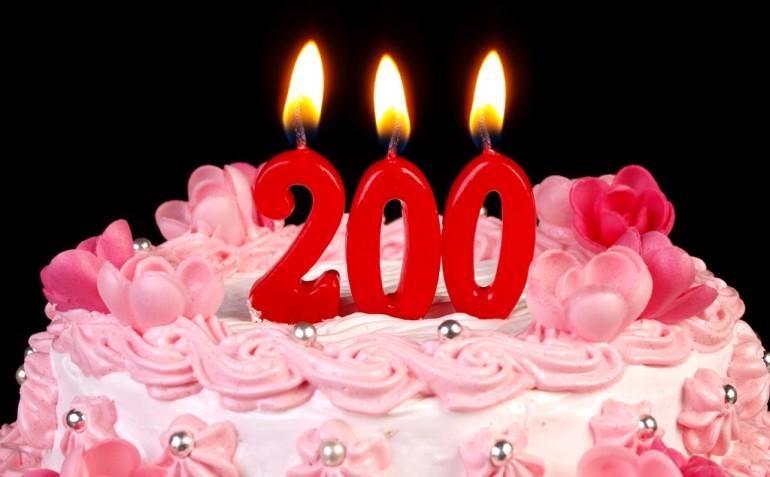 Kake med 200-lys