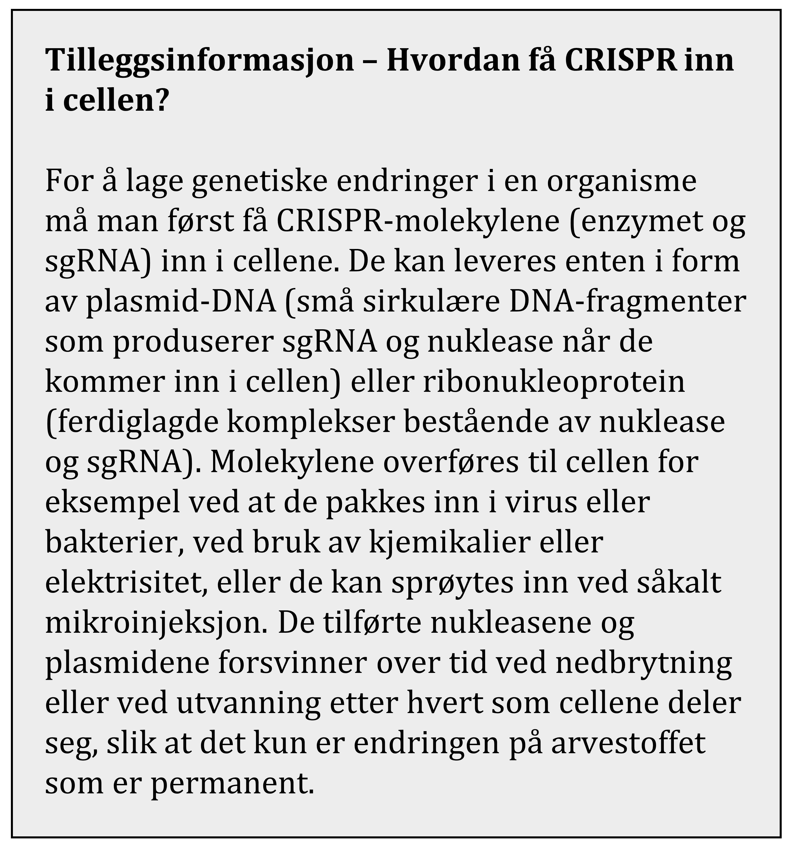 fakta crispr inn i cellen