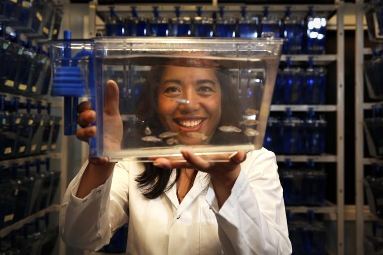 Forsker Camilla Esguerra jobber med sebrafisk ved UiO Livsvitenskap. Foto: UiO.