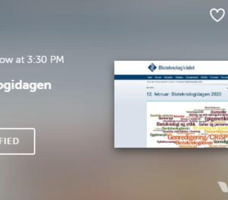 Strømmes onsdag kl. 15.30-18: Bioteknologidagen 2020