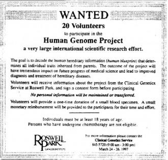 Annonse 23. mars 1997 i lokalavisen Buffalo News, New York, der det søkes etter frivillige som kan delta i Det humane genomprosjekt.