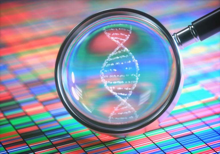 3D illustrasjon. DNA Sanger-sekvensering og et forstørrelsesglass som viser DNA-heliksen.